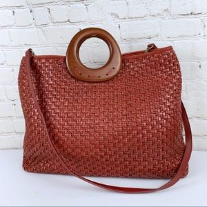 Fossil Large Woven Leather Wood Handles Tote Bag